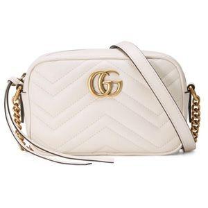 Gucci white mini Matelasse camera bag